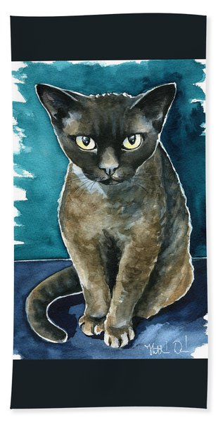 Joey - Devon Rex Cat Painting Bath Towel