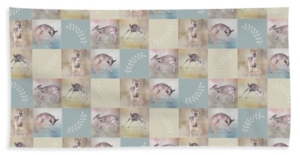 Joyful Little Fawns Collage Hand Towel