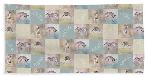 Joyful Little Fawns Collage Bath Towel