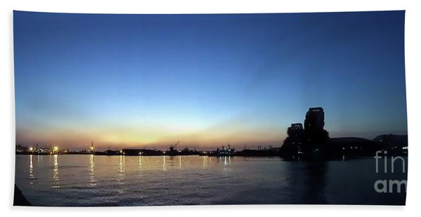 Kaohsiung Port At Dusk Panorama Hand Towel