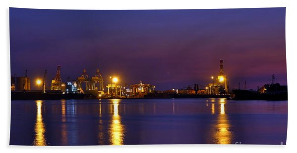 Kaohsiung Port At Dusk Hand Towel