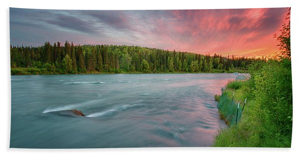 Kenai River Alaska Sunset Bath Towel