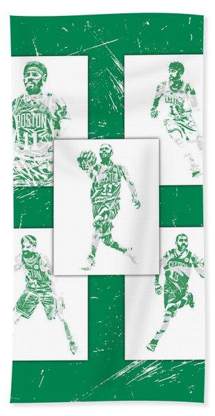 Kyrie Irving Boston Celtics Panel Pixel Art 1 Hand Towel