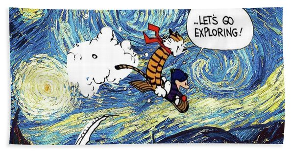 Let's Go Exploring - Calvin And Hobbes Hand Towel