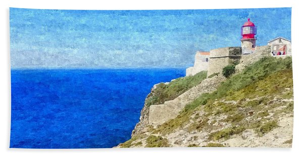 Lighthouse On Top Of A Cliff Overlooking The Blue Ocean On A Sunny Day, Painted In Oil On Canvas. Bath Towel