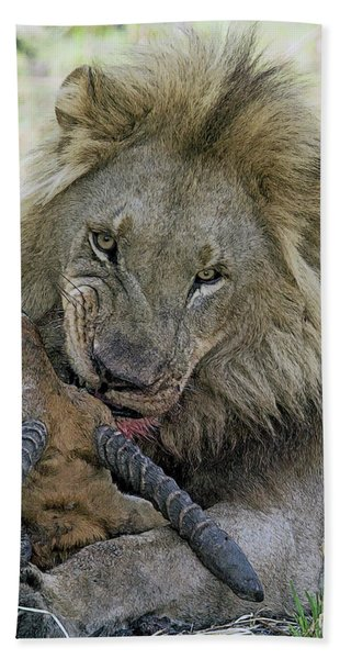 Bath Towel featuring the digital art Lion Prey by Larry Linton