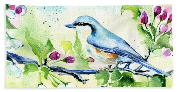 Little Blue Spring Bird Bath Towel