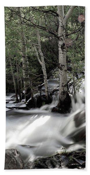 Long Exposure Shot Of A Mountain Stream Hand Towel