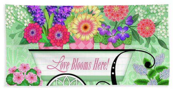 Love Blooms Here Hand Towel