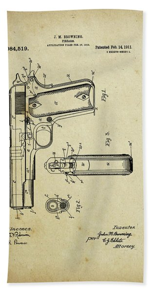 M1911 Browning Pistol Patent Hand Towel
