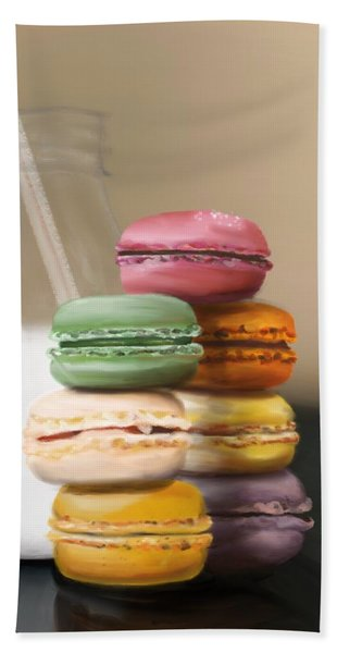 Bath Towel featuring the pastel Macaroons  by Fe Jones
