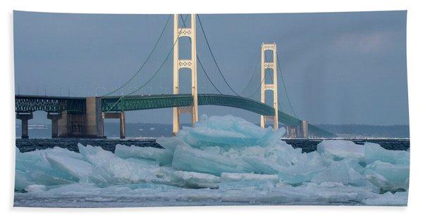 Mackinac Bridge In Ice 2161809 Bath Towel