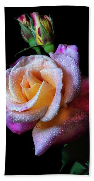 Mardi Gras Rose Portrait Hand Towel