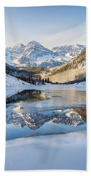 Maroon Bells Reflection Winter Bath Towel
