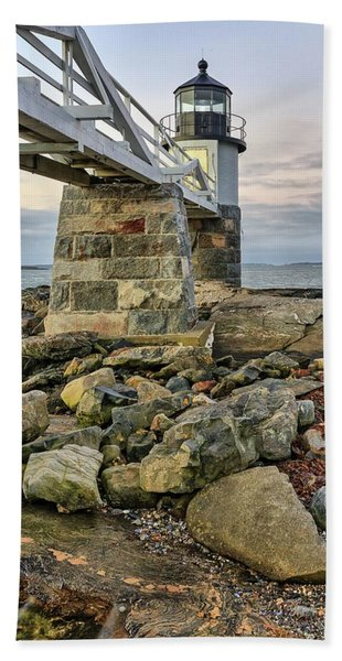 Marshall Point Light From The Rocks Hand Towel