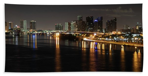 Miami Lights At Night Bath Towel