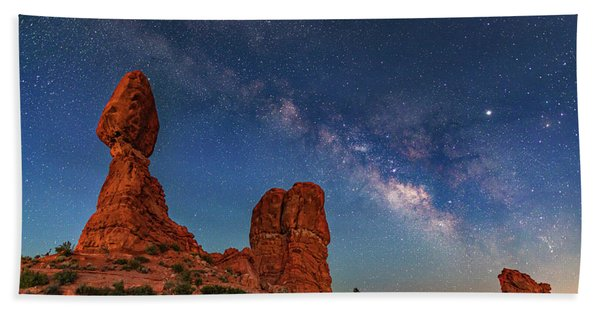 Milky Way Over Balanced Rock At Twilight Hand Towel