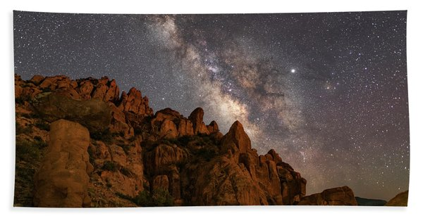 Milky Way Over Rocky Terrain Hand Towel