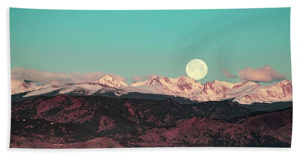 Moonlight Over Colorado Mountains Hand Towel