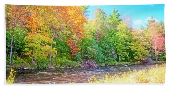 Mountain Stream In Early Autumn Hand Towel