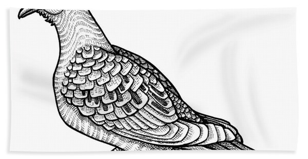 Bath Towel featuring the drawing Mourning Dove by Amy E Fraser