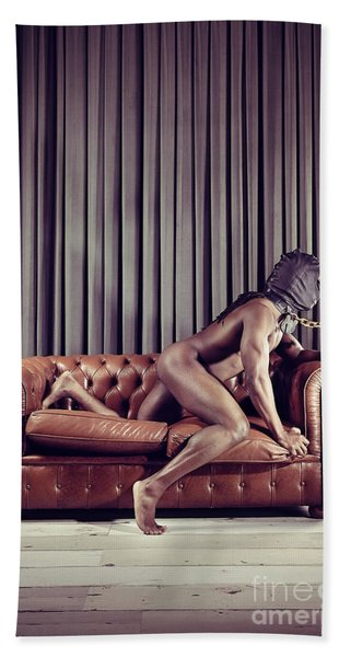 Naked Man With Mask On A Sofa Bath Towel