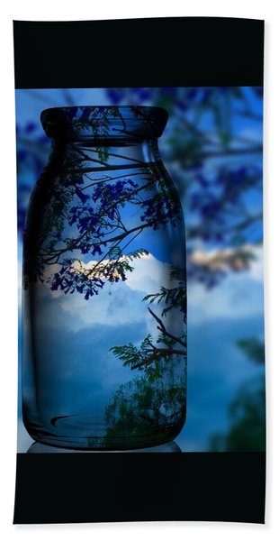 Hand Towel featuring the photograph Nature Through Bottle  by Colette V Hera Guggenheim