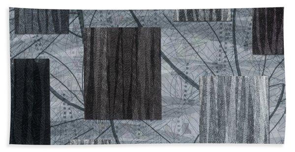 Neutral Toned Leaf Square Print Bath Towel
