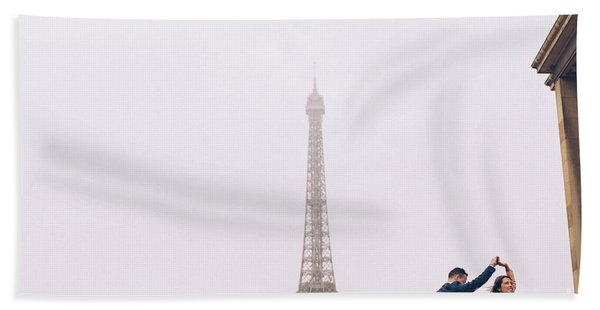 Newly-wed Couple On Their Honeymoon In Paris, Loving Having A Date Near The Eiffel Tower Hand Towel