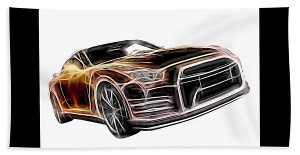 Nissan Gt-r Front Side Profile Digital Neon Hand Towel