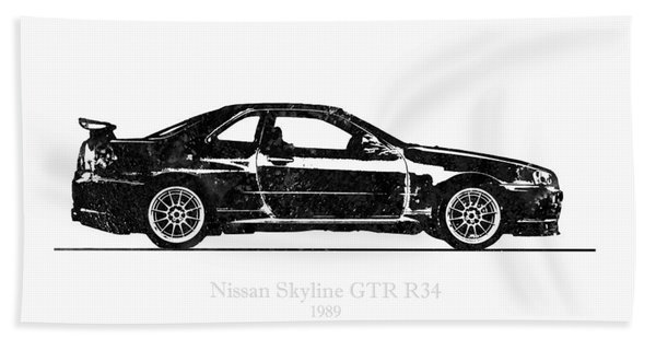 Nissan Skyline Gt-r R34 1989 Black And White Illustration Hand Towel
