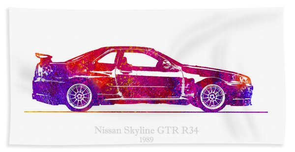 Nissan Skyline Gt-r R34 1989 Watercolor Illustration Hand Towel