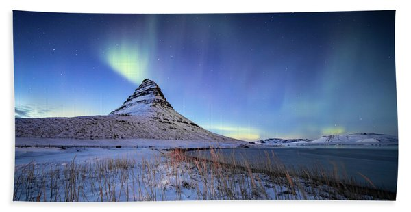 Northern Lights Atop Kirkjufell Iceland Hand Towel