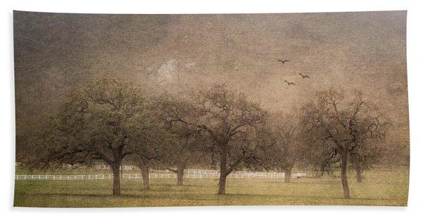 Oak Trees In Fog Bath Towel