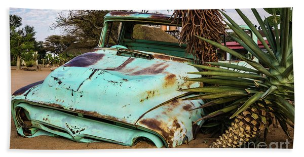 Old And Abandoned Car 2 In Solitaire, Namibia Hand Towel