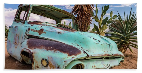 Old And Abandoned Car 7 In Solitaire, Namibia Bath Towel