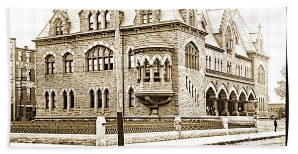 Old Customs House And Post Office, Evansville, Indiana, 1915 Bath Towel