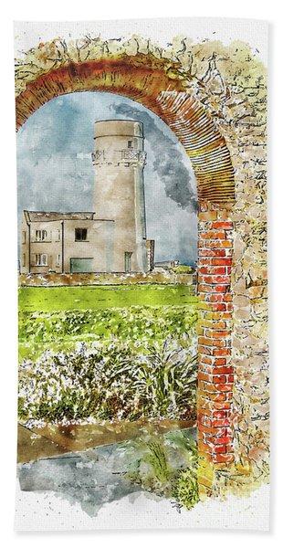Old Hunstanton Lighthouse From St Edmunds Chapel Hand Towel