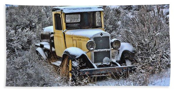 Old Yellow Truck Bath Towel