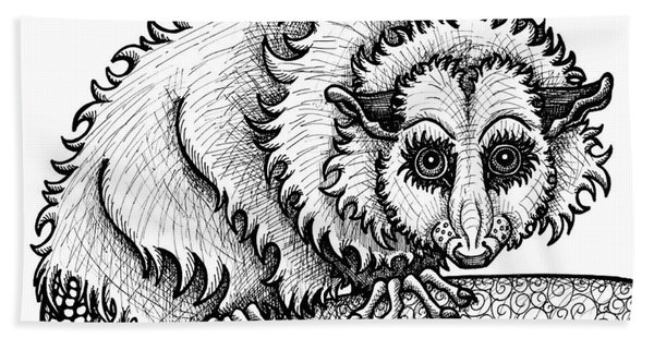 Bath Towel featuring the drawing Opossum by Amy E Fraser