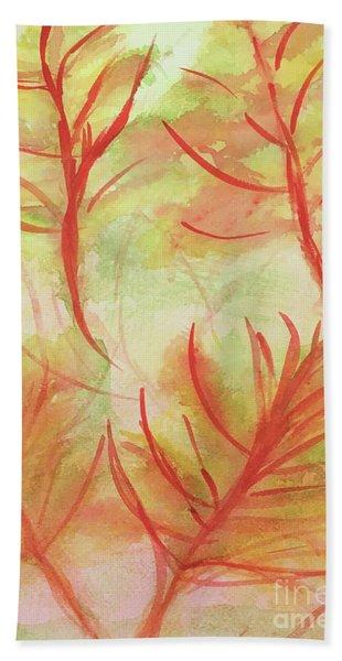 Orange Fanciful Leaves Bath Towel