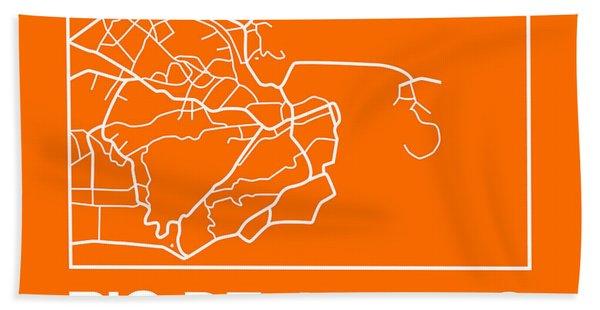 Orange Map Of Rio De Janeiro Hand Towel