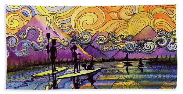 Paddleboarders Frisco Colorado Hand Towel