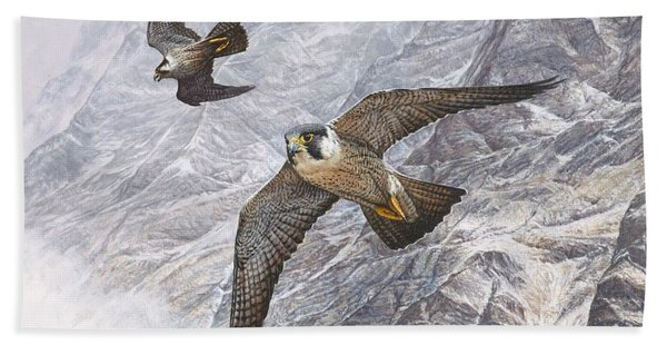 Pair Of Peregrine Falcons In Flight Bath Towel