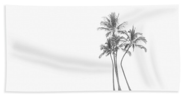 Palm Tree Cluster In Black And White Hand Towel