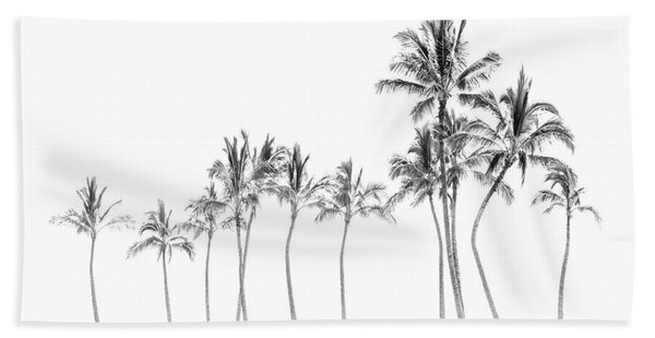 Palm Tree Horizon In Black And White Hand Towel
