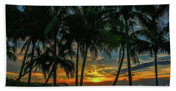 Bath Towel featuring the photograph Palm Tree Lagoon Sunrise by Tom Claud