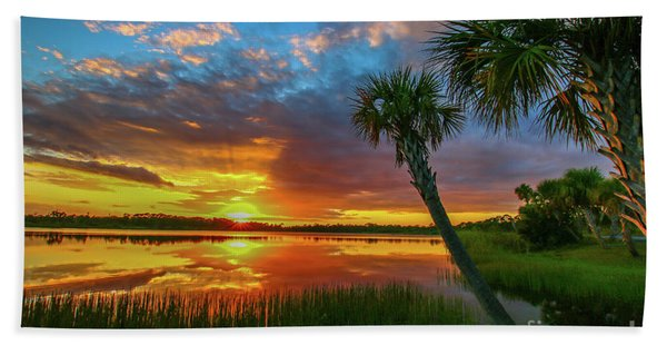 Bath Towel featuring the photograph Palm Tree Sunset by Tom Claud
