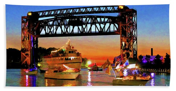 Parade Of Lighted Boats Bath Towel
