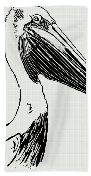 Pelican On Waves Bath Towel